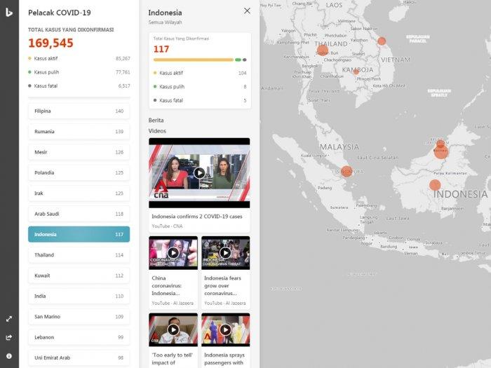 Peta penyebaran virus corona di Indonesia (photo/Screenshot/Bing)
